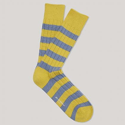 Yellow and Sky Heavy Cotton Hooped Sock