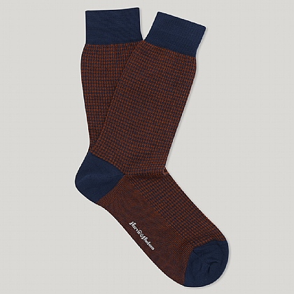 Marine and Orange Houndstooth Check Sock
