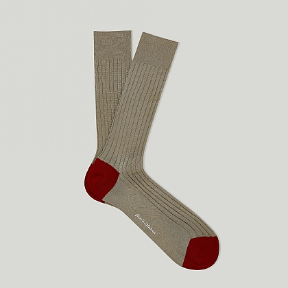 Beige and Red Heel and Toe Cotton Sock