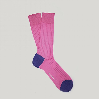 Pink and Bright Navy Heel and Toe Cotton Sock