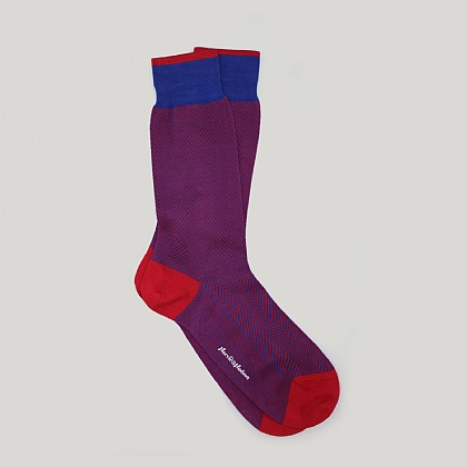 Royal and Red Herringbone Cotton Sock