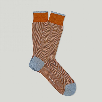 Orange and Sky Herringbone Cotton Sock