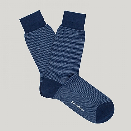 Navy Houndstooth Check Sock