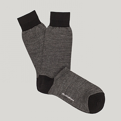 Black Herringbone Wool Sock
