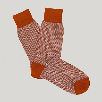 Orange Herringbone Wool Sock