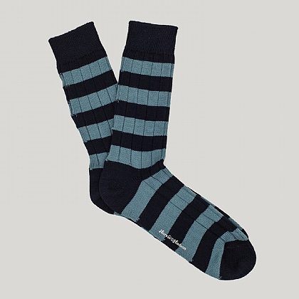 Navy and Sky Hooped Heavy Cotton Sock