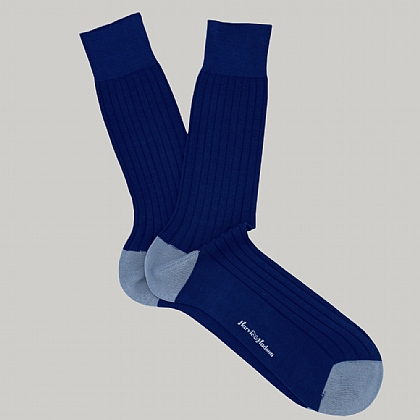 Royal Blue Heel and Toe Cotton Sock