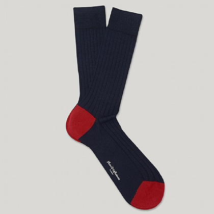 Navy Heel and Toe Cotton Sock