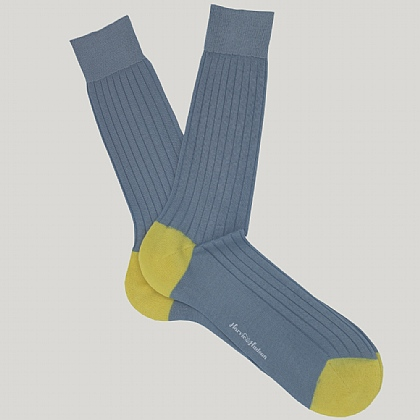 Sky Blue Heel and Toe Cotton Sock