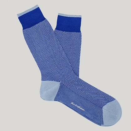 Royal Blue Herringbone Cotton Sock