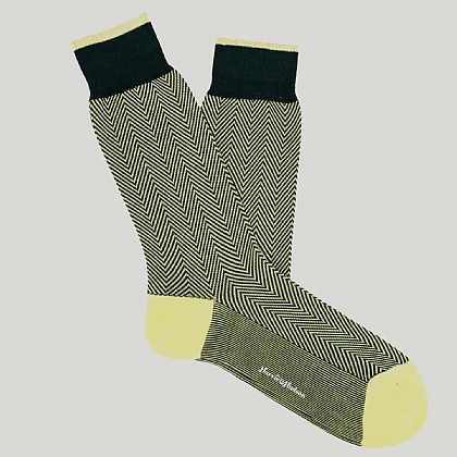 Green Herringbone Cotton Sock