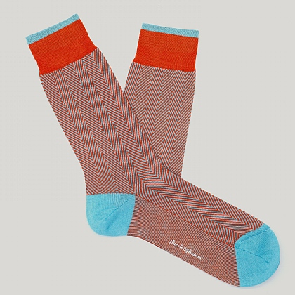 Orange Herringbone Cotton Sock