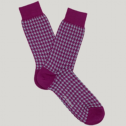 Fuschia Pink Houndstooth Cotton Sock