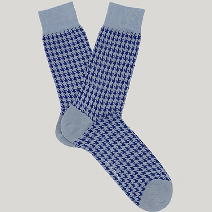 Sky Blue Houndstooth Cotton Sock