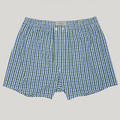 Blue and Green Check Cotton Boxers