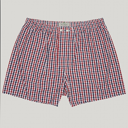 Red, White and Blue Check Cotton Boxers