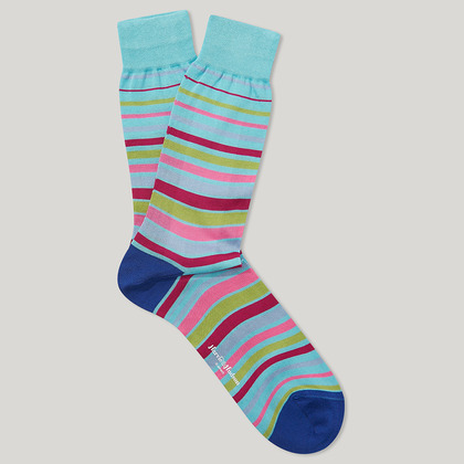 Blue and Pink Cotton Striped Socks