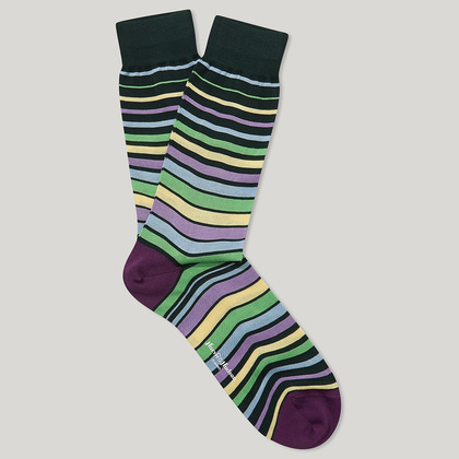 Green and Yellow Cotton Striped Socks