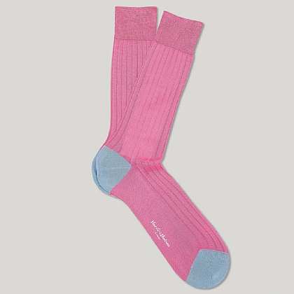 Pink and Sky Cotton Heel and Toe Socks