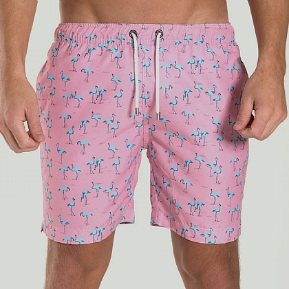 Pink Flamingo Print Swim Short