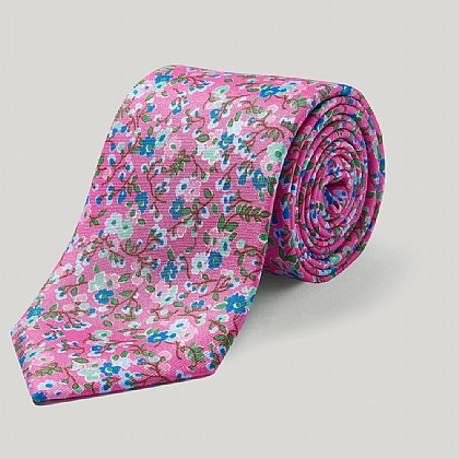 Hot Pink Floral Spray Silk Tie