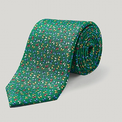 Emerald Summer Butterflies Silk Tie