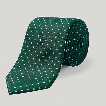 Racing Green/White Spot Silk Tie