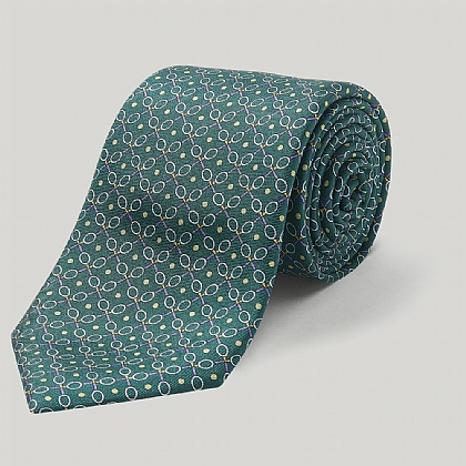 Green Tennis Raquets Printed Silk Tie