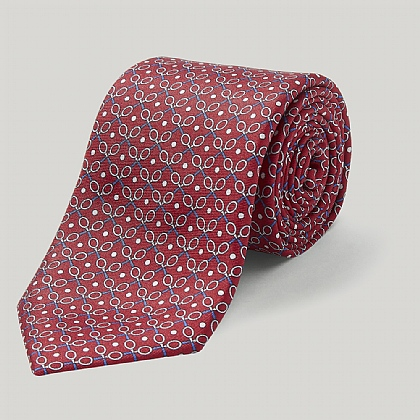Red Tennis Raquets Printed Silk Tie