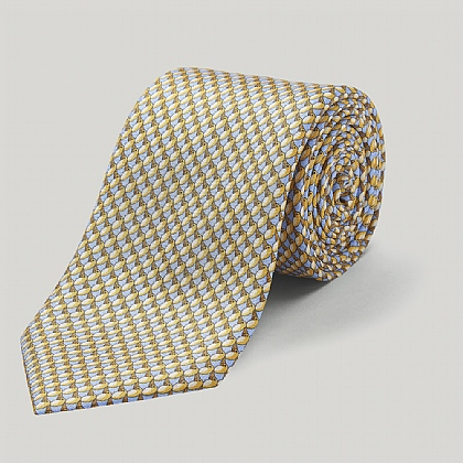 Yellow Parrot Printed Silk Tie