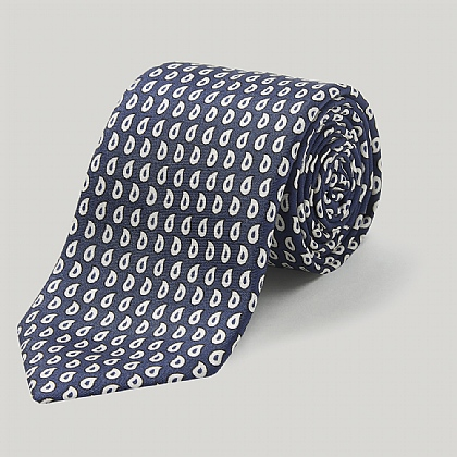 Navy and White Teardrop Pasiley Printed Silk Tie