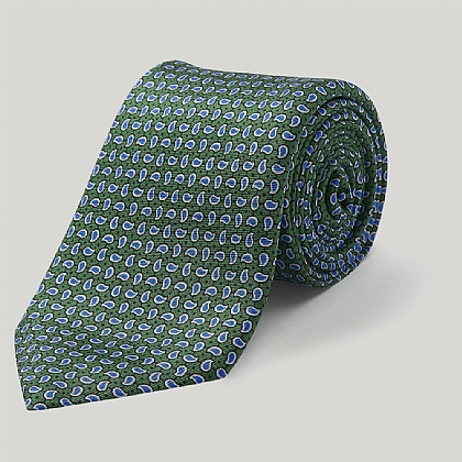 Green Small Paisley Printed Silk Tie