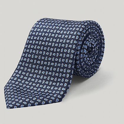 Navy Small Paisley Printed Silk Tie
