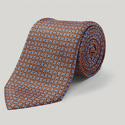 Orange Small Paisley Printed Silk Tie