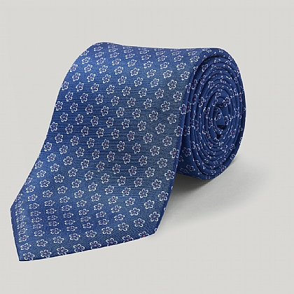 Blue Neat Flowers Printed Silk Tie