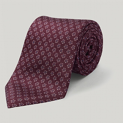 Burgundy Neat Flowers Printed Silk Tie
