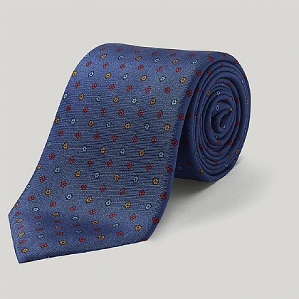 Blue Little Flower Printed Silk Tie