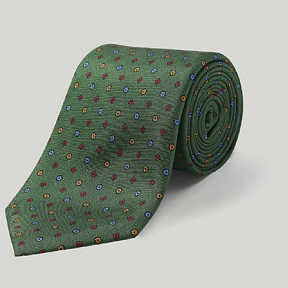 Green Little Flower Printed Silk Tie