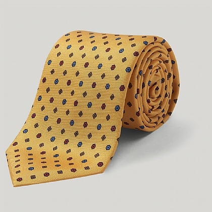 Yellow Little Flower Printed Silk Tie