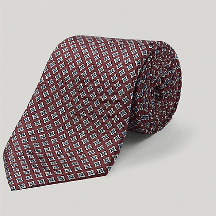 Burgundy Small Star Printed Silk Tie