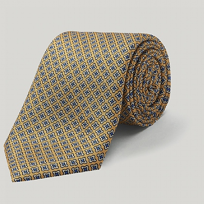 Yellow Small Star Printed Silk Tie
