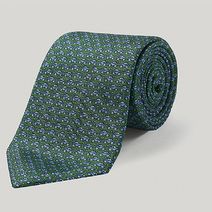 Green Cars Printed Silk Tie