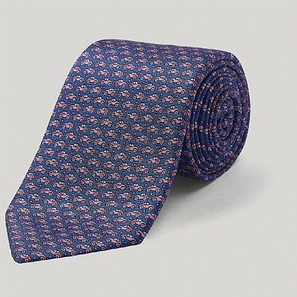 Navy Cars Printed Silk Tie