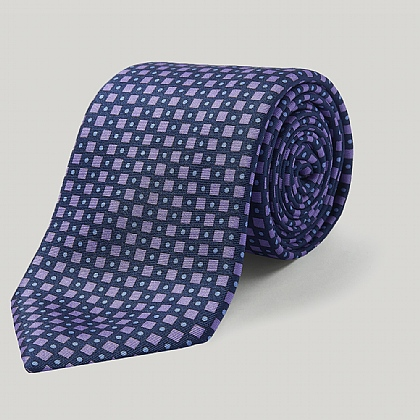 Navy and Lilac Diamonds Printed Silk Tie