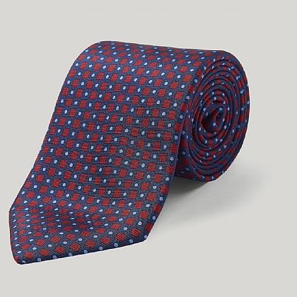 Navy and Red Diamonds Printed Silk Tie