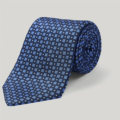 Navy and Sky Diamonds Printed Silk Tie