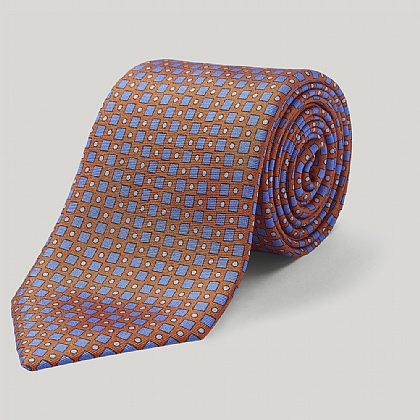 Orange and Blue Diamonds Printed Silk Tie