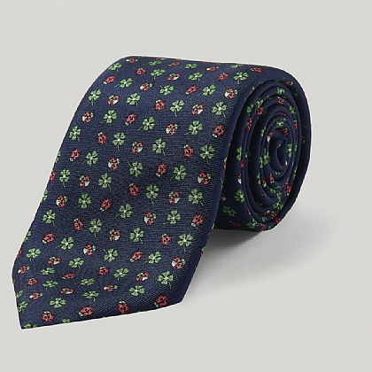 Navy and Red Ladybirds Printed Silk Tie