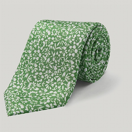 Green Flowers Printed Silk Tie