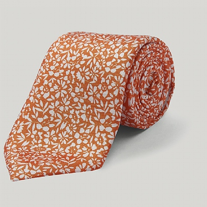 Orange Flowers Printed Silk Tie